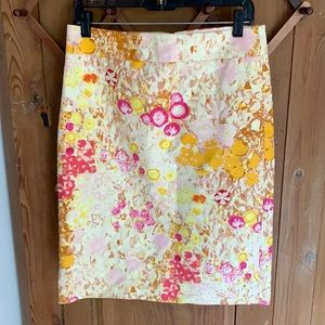 J Crew yellow and pink floral print pencil skirt
